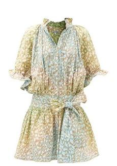 Juliet Dunn Snow Leopard tie-dye cotton-voile mini dress