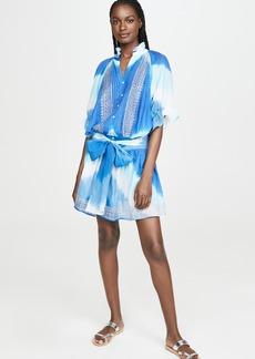 Juliet Dunn Tie Dye Blouson Cover Up Dress