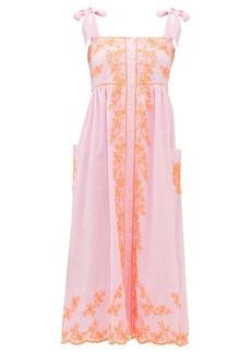 Juliet Dunn Tied-shoulder mirror-embroidered cotton midi dress