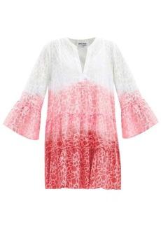 Juliet Dunn Tiered floral-print ombré cotton-voile dress