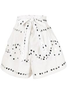 Juliet Dunn mirror-detail paperbag-waist shorts