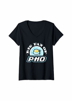 Junk Food Womens Big Fan of Pho Funny Food Lover T-Shirt V-Neck T-Shirt