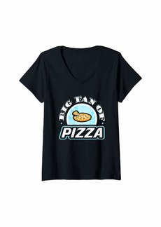Junk Food Womens Big Fan of Pizza Funny Food Lover T-Shirt V-Neck T-Shirt