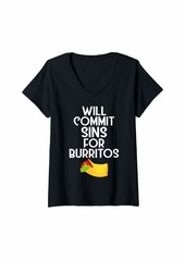 Junk Food Womens Funny Tex-Mex Food Will Commit Sins For Burritos V-Neck T-Shirt
