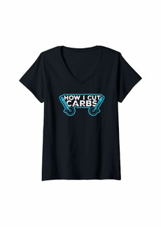 Womens How I Cut Carbs Funny Pizza Lover Junk Food  V-Neck T-Shirt