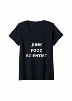 Womens Junk Food Scientist Funny Gag Gift V-Neck T-Shirt