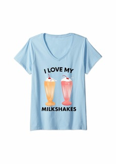 Junk Food Womens Milkshake Shirt - I Love My Milkshakes V-Neck T-Shirt