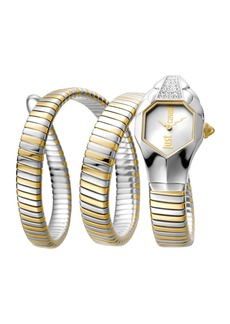 Just Cavalli 22mm Glam Chic Coil Bracelet Watch  Two-Tone