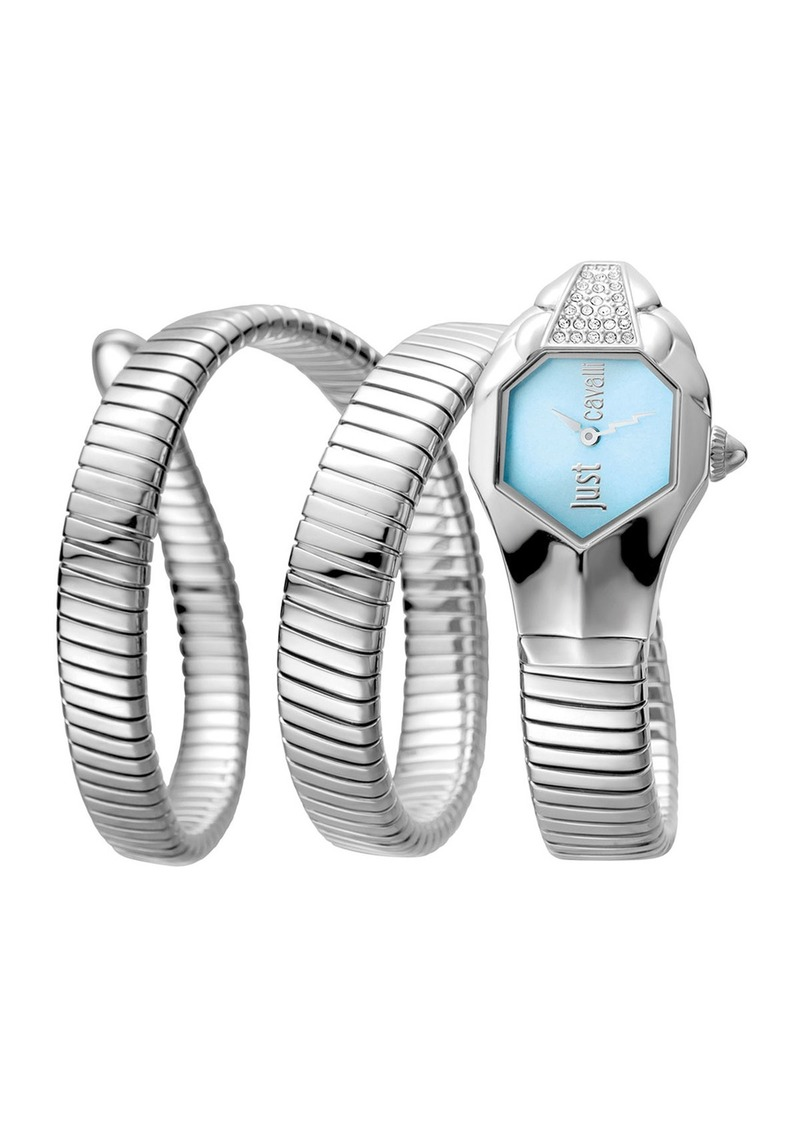 Just Cavalli 22mm Glam Chic Coil Bracelet Watch  Silvertone