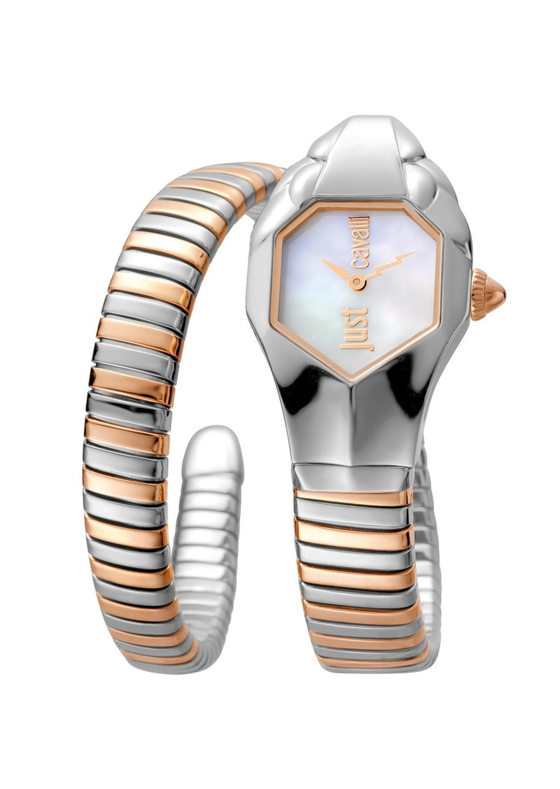 Just Cavalli 22mm Glam Chic Two-Tone Coiled Snake Bracelet Watch  Rose Golden Multi