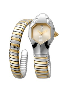 Just Cavalli 22mm Glam Chic Two-Tone Coiled Snake Bracelet Watch  Yellow Golden Multi