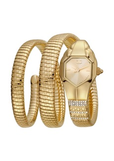 Just Cavalli 22mm Glam Snake Coil Bracelet Watch  Gold