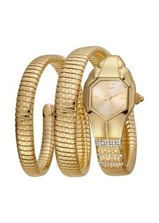 Just Cavalli 22mm Glam Snake Coil Bracelet Watch  Gold
