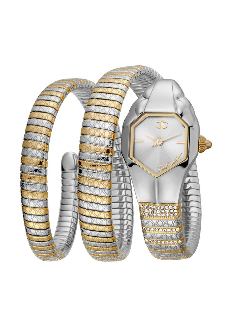 Just Cavalli 22mm Glam Snake Coil Bracelet Watch  Gold/Silver