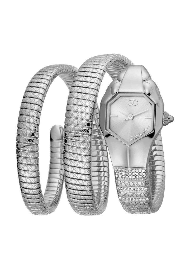 Just Cavalli 22mm Glam Snake Coil Bracelet Watch  Silver