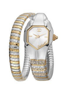 Just Cavalli 22mm Glam Snake Watch with Coil Bracelet  Gold/Silver