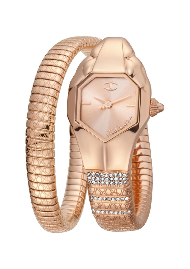 Just Cavalli 22mm Glam Snake Watch with Coil Bracelet  Rose Gold