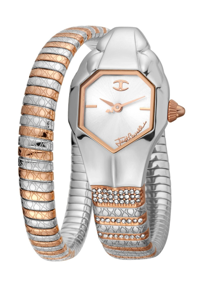 Just Cavalli 22mm Glam Snake Watch with Coil Bracelet  Two-Tone