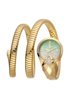 Just Cavalli 26mm Glam Time Glitter Snake Watch with Coil Bracelet  Gold/Green