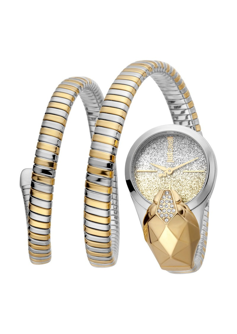 Just Cavalli 26mm Glam Time Glitter Snake Watch with Coil Bracelet  Gold/Silver