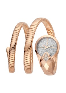 Just Cavalli 26mm Glam Time Glitter Snake Watch with Coil Bracelet  Rose Gold