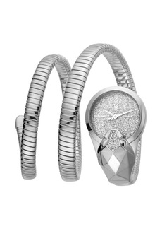 Just Cavalli 26mm Glam Time Glitter Snake Watch with Coil Bracelet  Silver