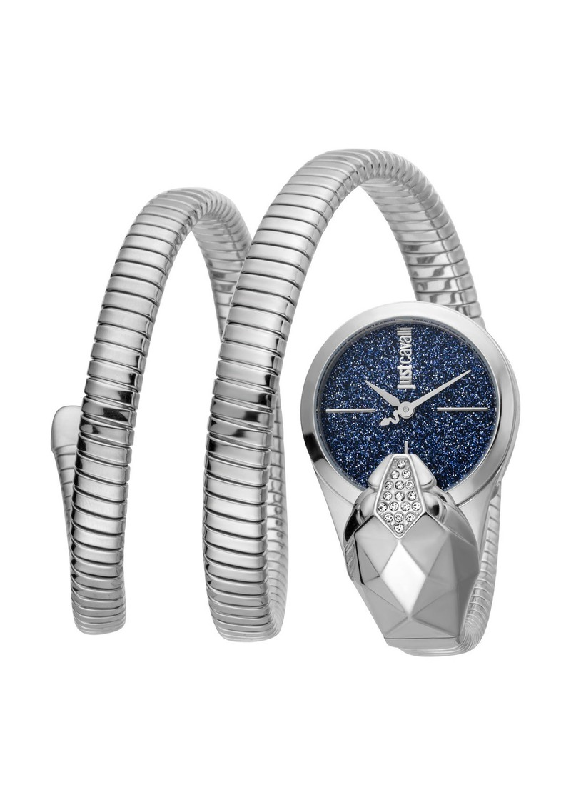 Just Cavalli 26mm Glam Time Glitter Snake Watch with Coil Bracelet  Silver/Blue