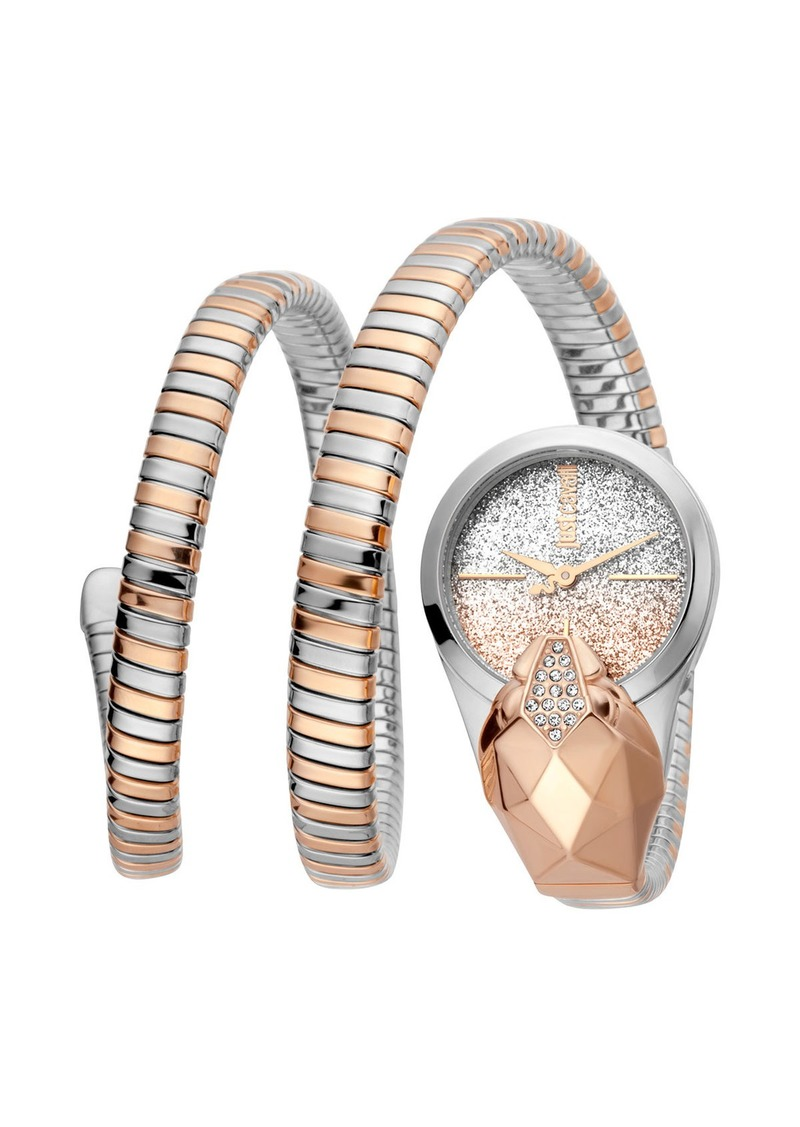 Just Cavalli 26mm Glam Time Glitter Snake Watch with Coil Bracelet  Two-Tone