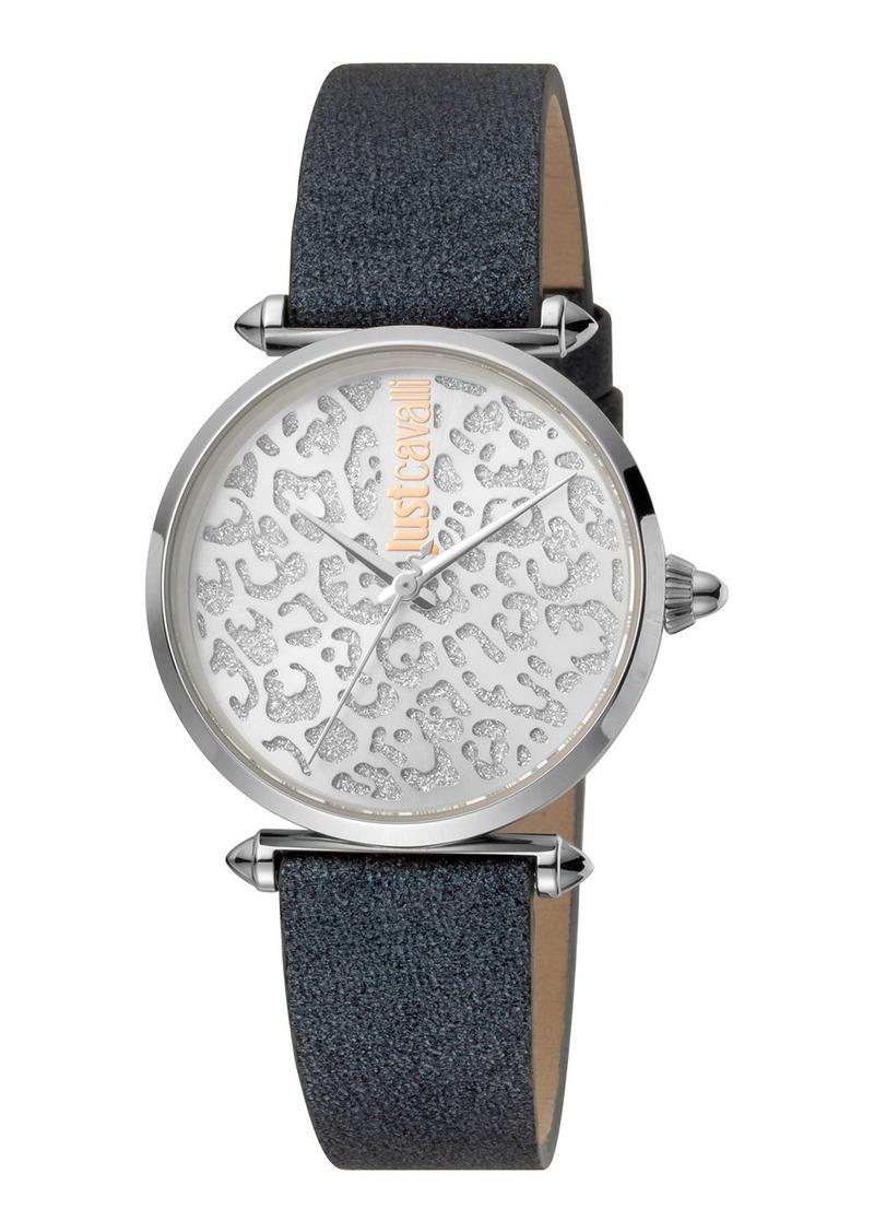 Just Cavalli 32mm Animal Glitter Watch w/ Leather Strap  Black/Steel