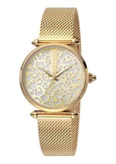 Just Cavalli 32mm Animal Glitter Watch w/ Mesh Strap  Gold