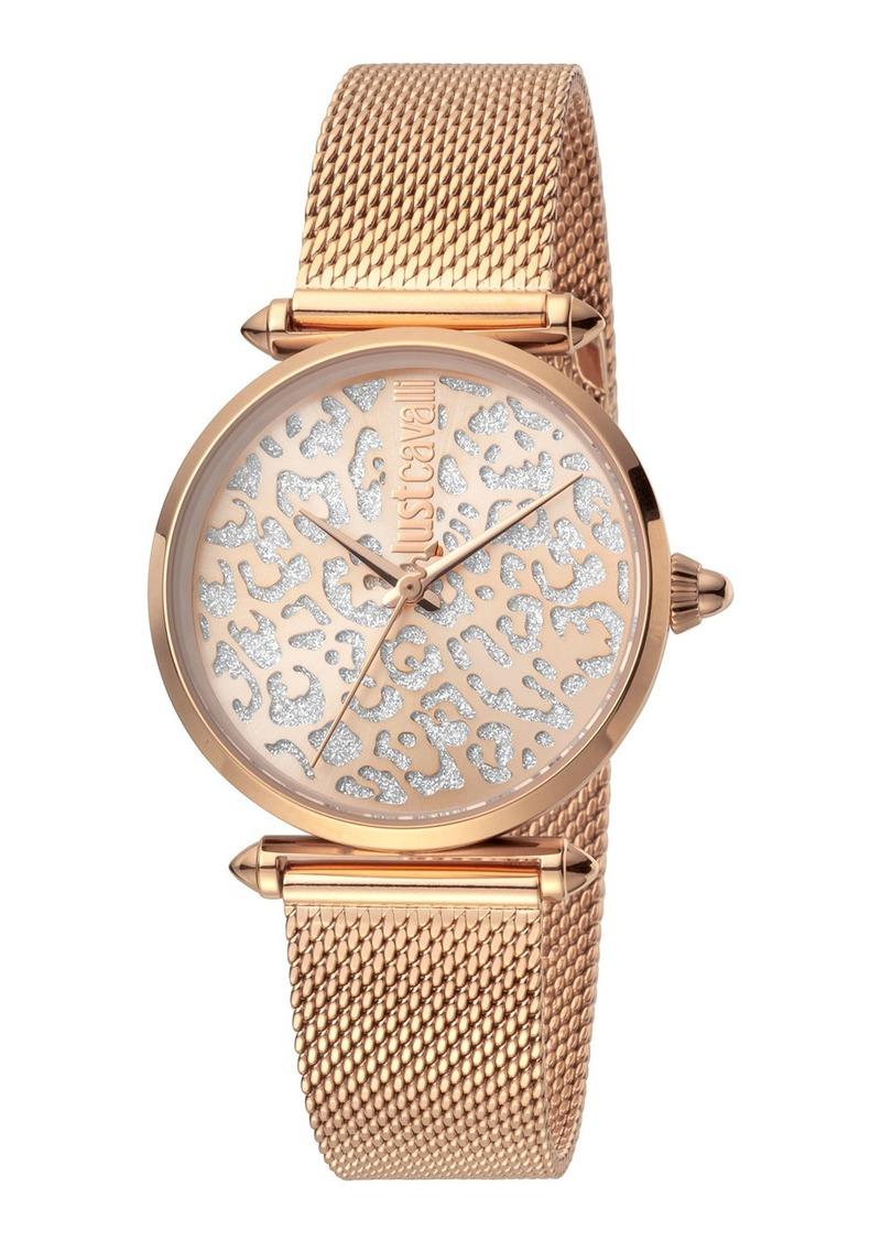 Just Cavalli 32mm Animal Glitter Watch w/ Mesh Strap  Rose Gold