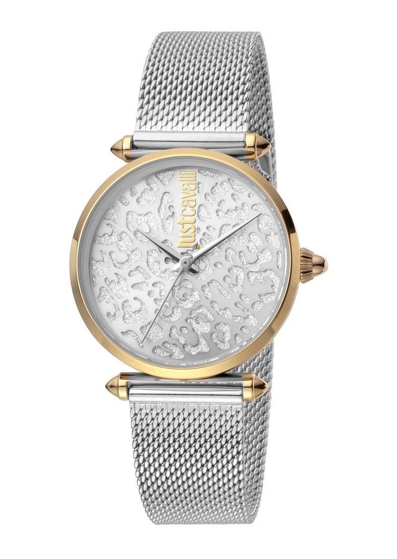 Just Cavalli 32mm Animal Glitter Watch w/ Mesh Strap  Two-Tone