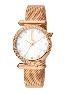 Just Cavalli 32mm Glam Chic Snake Watch w/ Mesh Strap  Rose/White