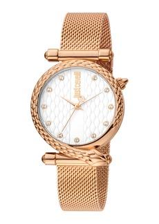 Just Cavalli 32mm Glam Chic Snake Watch w/ Mesh Strap  Rose/White