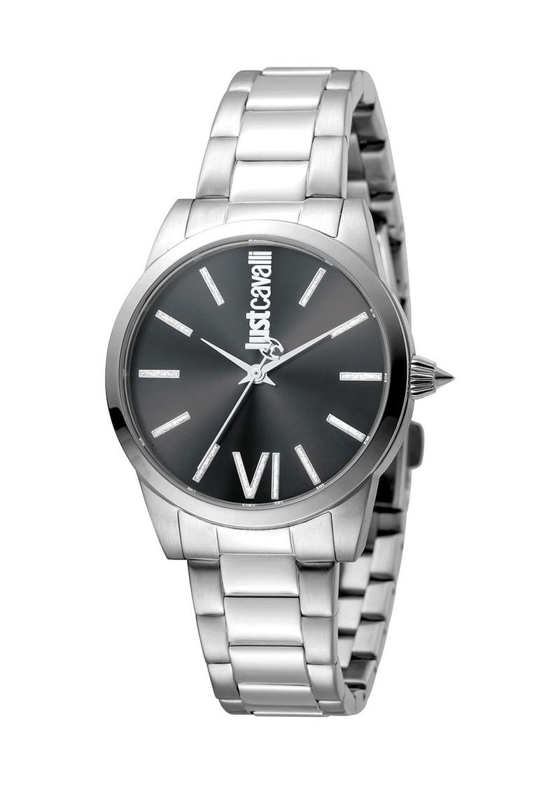 Just Cavalli 32mm Relaxed Velvet Bracelet Watch  Black