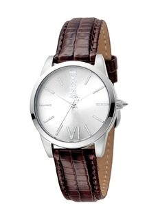 Just Cavalli 32mm Relaxed Velvet Leather Watch  Brown