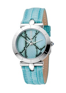 Just Cavalli 34mm Animal Devore Leather Watch  Ice Blue