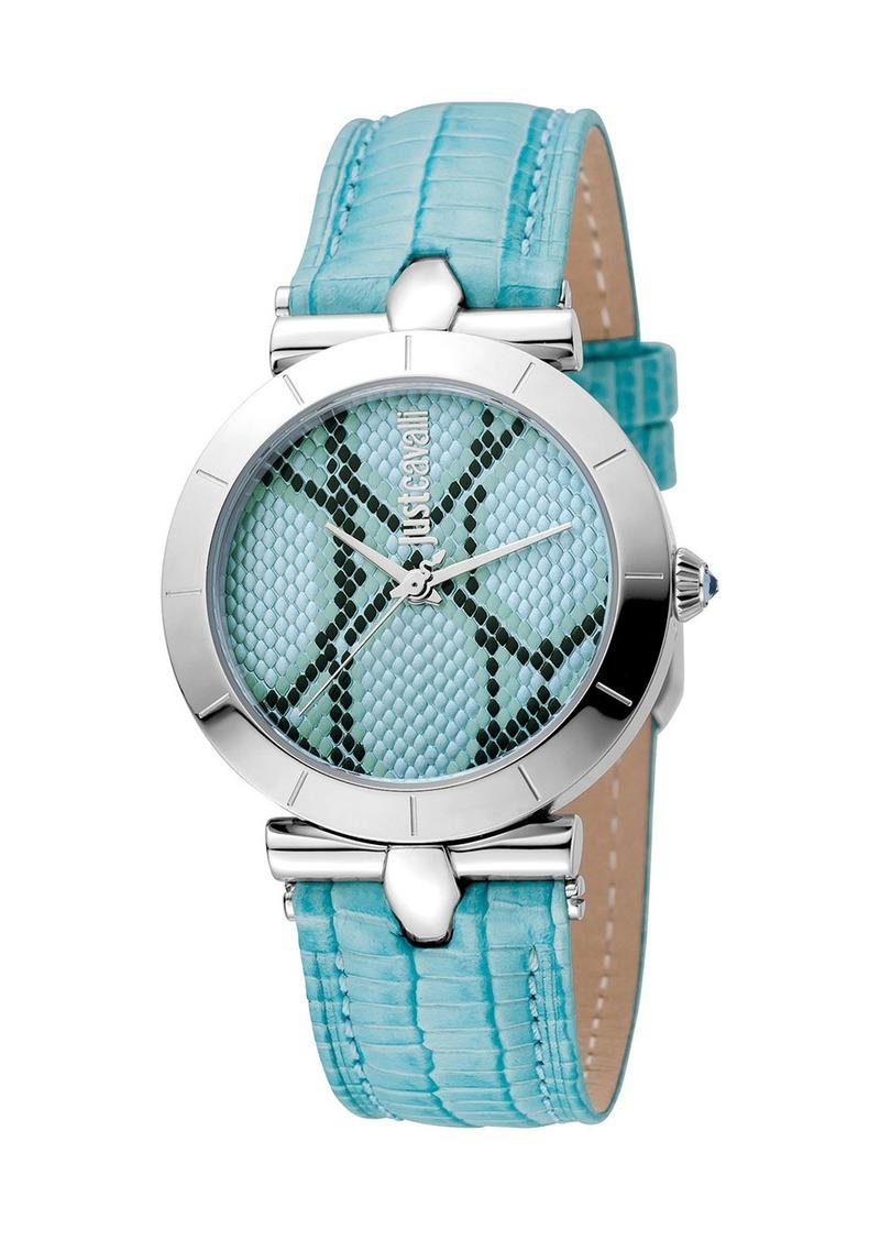 Just Cavalli 34mm Animal Devore Leather Watch  Ice Blue
