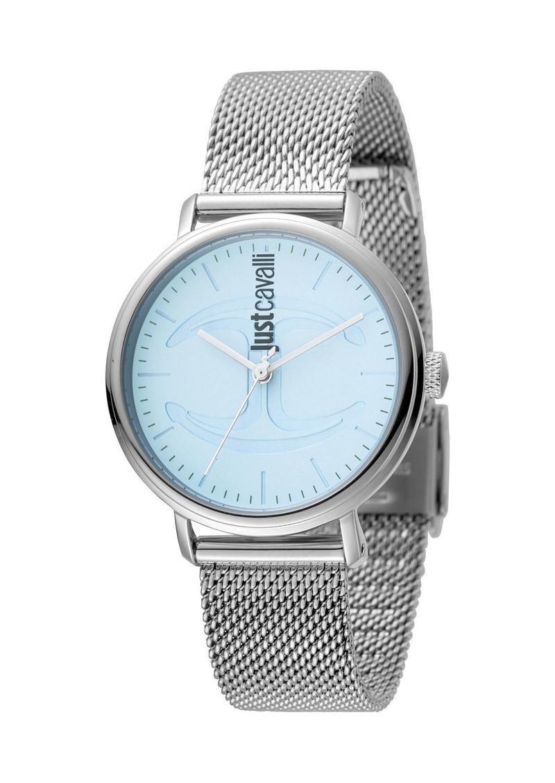 Just Cavalli 34mm CFC Stainless Steel Bracelet Watch w/ Mesh Strap  Blue