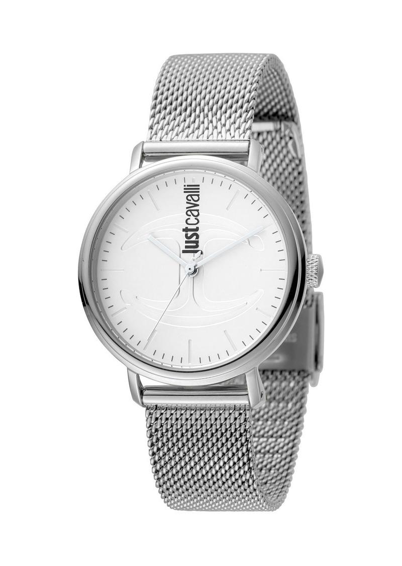 Just Cavalli 34mm CFC Stainless Steel Bracelet Watch w/ Mesh Strap  Silver