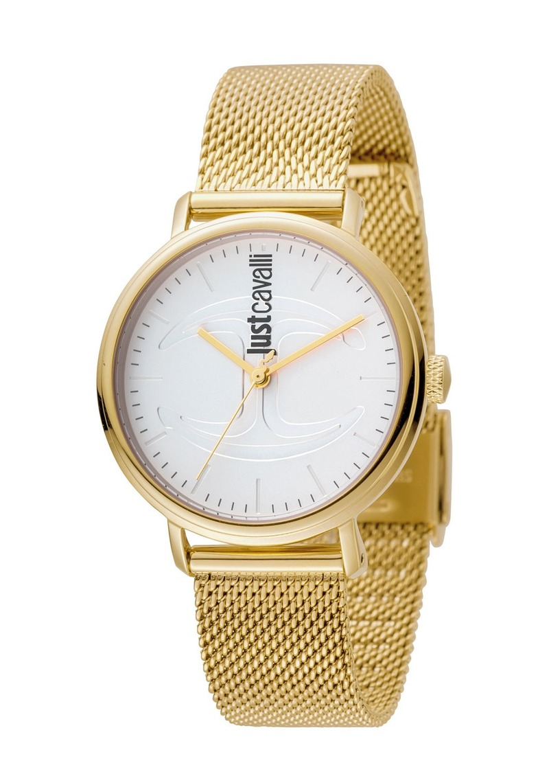 Just Cavalli 34mm CFC Stainless Steel Bracelet Watch w/ Mesh Strap  White