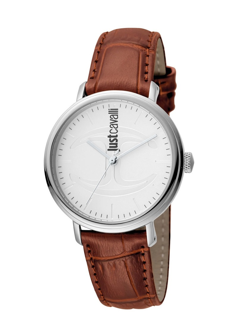 Just Cavalli 34mm CFC Stainless Steel Watch w/ Leather Strap  White/Brown