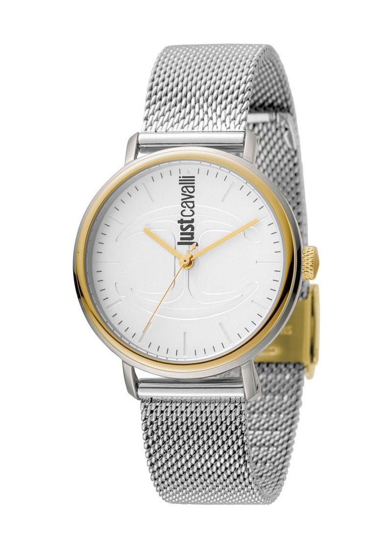 Just Cavalli 34mm CFC Two-Tone Stainless Steel Bracelet Watch w/ Mesh Strap  Multi