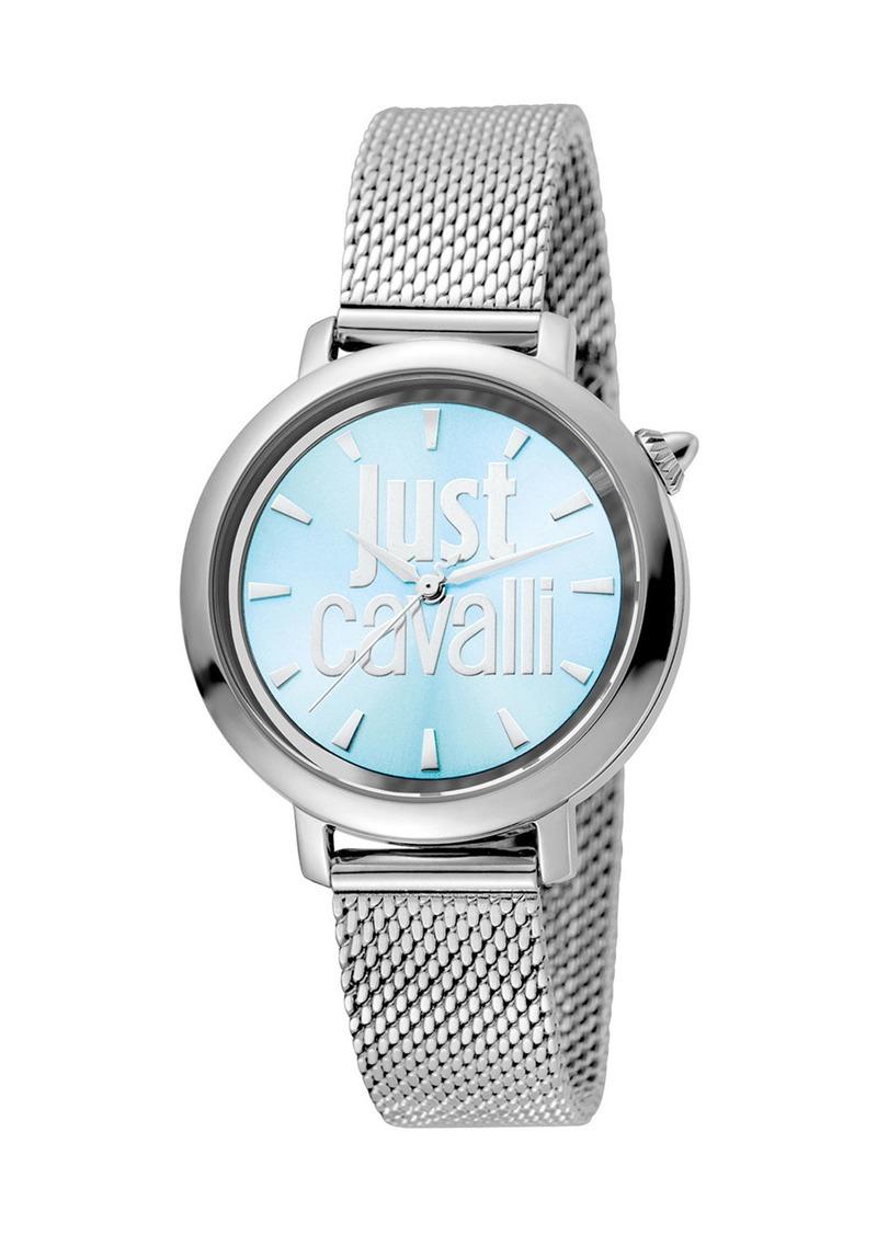 Just Cavalli 34mm Logo Stainless Steel Bracelet Watch  Blue