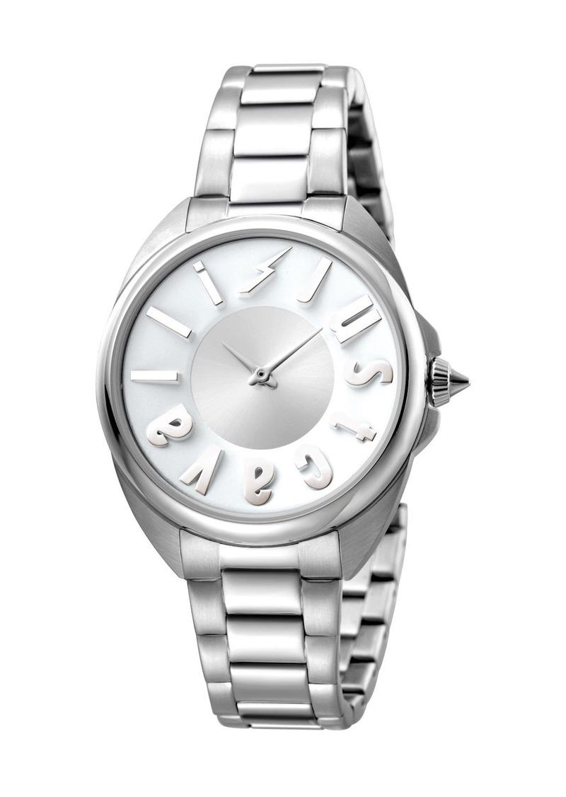 Just Cavalli 34mm Logo Stainless Steel Bracelet Watch  Silver