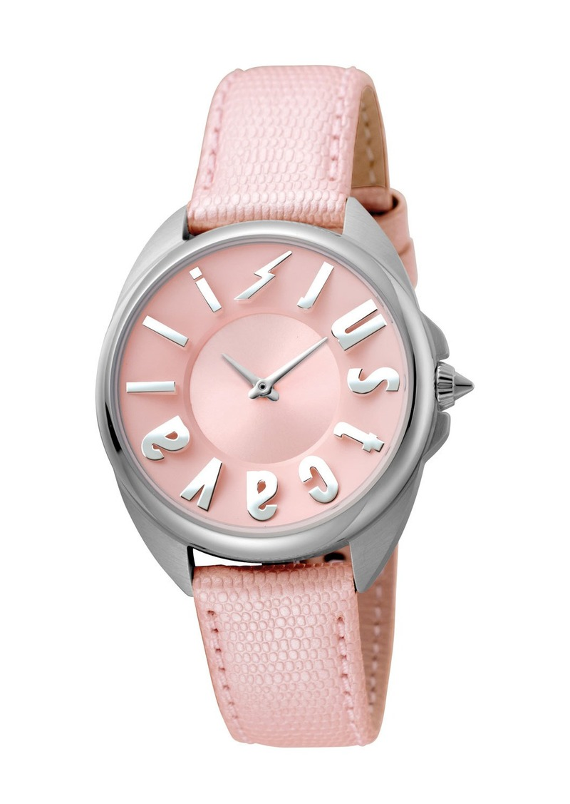 Just Cavalli 34mm Logo Stainless Steel Watch w/ Leather Strap  Pink