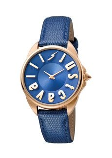 Just Cavalli 34mm Logo Stainless Steel Watch w/ Leather Strap  Rose Golden/Blue