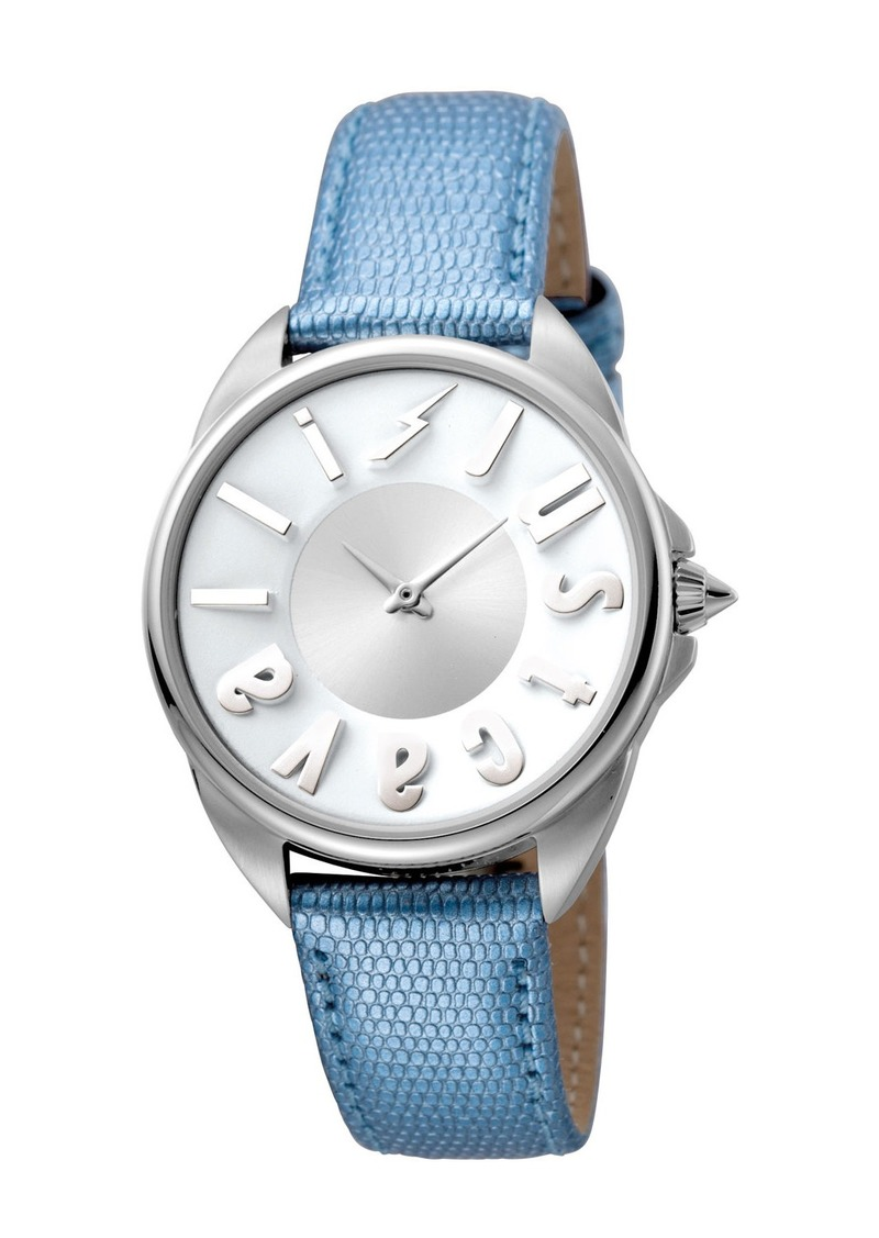 Just Cavalli 34mm Logo Stainless Steel Watch w/ Leather Strap  Silver/Blue