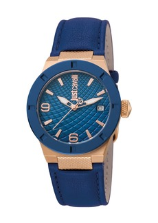 Just Cavalli 34mm Rock Watch w/ Leather Strap  Rose Golden/Navy