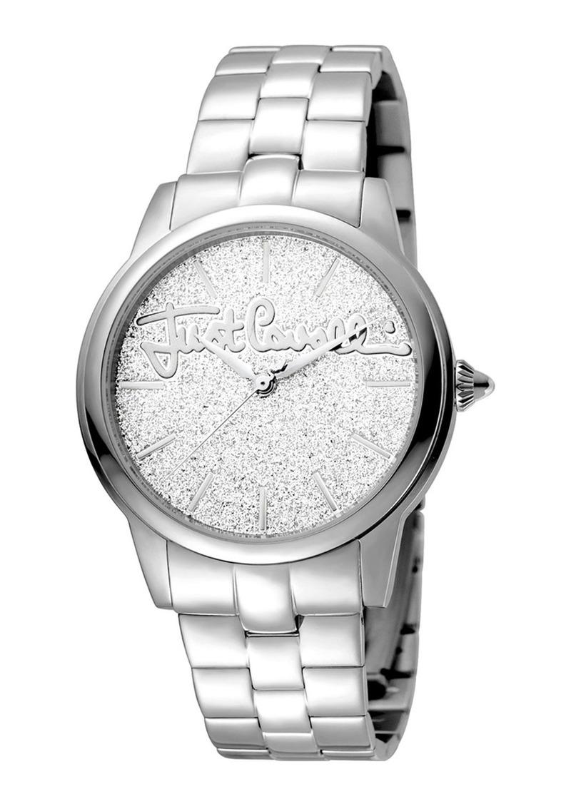 Just Cavalli 36mm Glam Chic Glitter Bracelet Watch  Silver